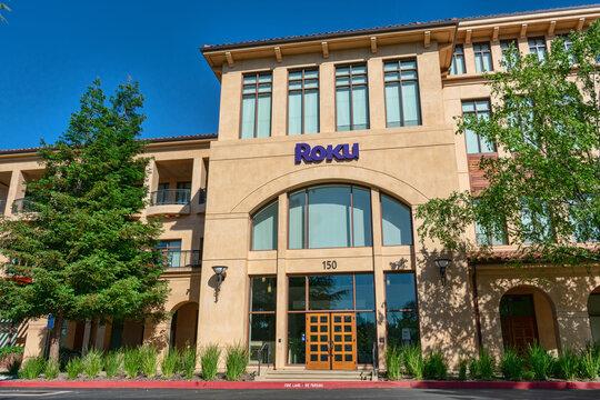 Roku headquarters office facade with media company sign and logo in Silicon Valley - Los Gatos, California, USA - 2019