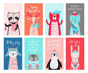 Wall Mural - Cute cards with woodland animals celebrating Christmas eve, having fun, drinking tea. Funny characters.