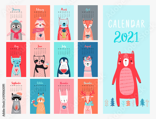Wall mural Calendar 2021. Monthly calendar with cute Animals.