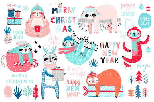 Christmas Sloths set, hand drawn style - calligraphy, cute sloths and other elements..