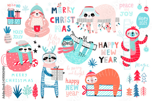 Wall mural Christmas Sloths set, hand drawn style - calligraphy, cute sloths and other elements..