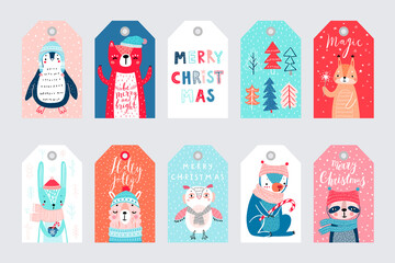 Wall Mural - Cute gift tags with woodland animals celebrating Christmas eve, having fun, and handwritten letterings. Funny characters.