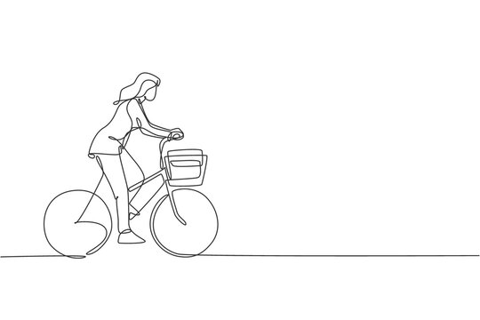 One single line drawing young happy startup employee woman ride bicycle to the coworking space vector illustration graphic. Healthy urban commuter lifestyle concept. Modern continuous line draw design