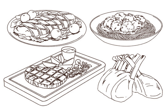 Doodle of meat main dish collection, grilled chicken breast, meatball pasta, grilled steak, lamb rack