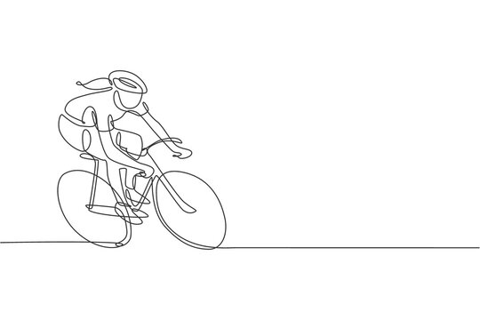 One continuous line drawing young sporty woman bicycle racer pedaling her bike so fast. Road cyclist concept. Dynamic single line draw design vector illustration graphic for cycling competition poster