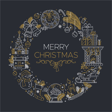 Merry Christmas linear illustration on dark background. Thick line chalk outline symbols arranging in a circle. Vector New year white and gold concept. Contour pictograms. Editable stroke