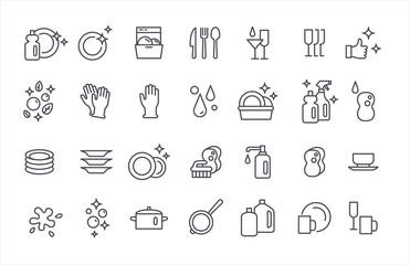 Fototapeta Washing dishes icons thin flat vector set obraz