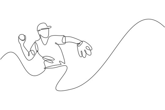 One continuous line drawing of young sporty man baseball player focus practice to throw the ball. Competitive sport concept. Dynamic single line draw design vector illustration for promotion poster