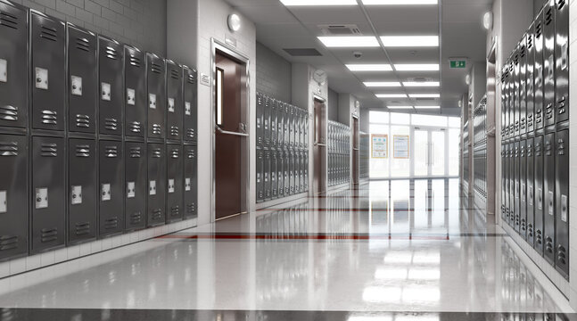 Long school corridor with black lockers , 3d illustration