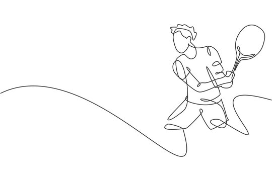 Single continuous line drawing of young agile tennis player hit the ball from opponent. Sport exercise concept. Trendy one line draw design vector illustration for tennis tournament promotion media