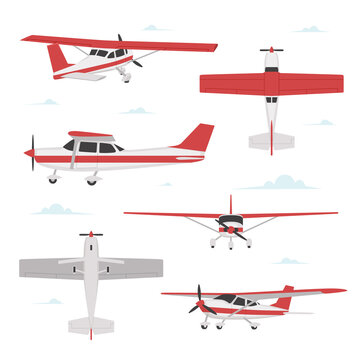 Propeller plane in different views. Small light aircraft with single engine
