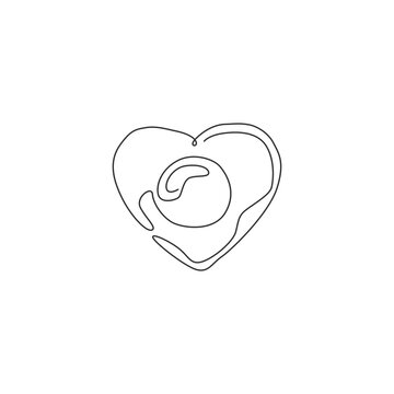 One single line drawing of fresh sunny side up egg with love shape logo vector illustration. Breakfast food cafe menu and restaurant badge concept. Modern continuous line draw design food logotype