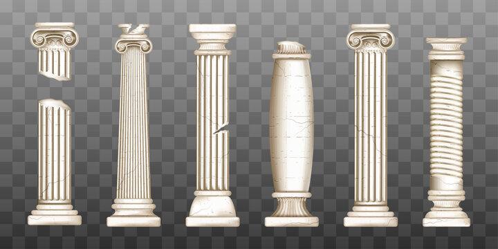 Ancient broken greek columns, baroque pillars