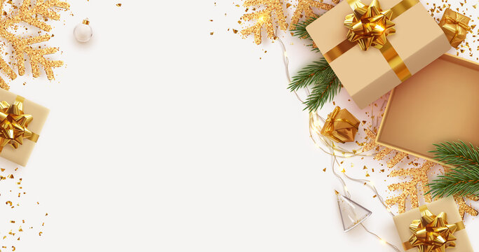 Christmas and New Year's gift composition. Empty Open gift box template. Xmas design Realistic decorative object. Sale banner, surprise poster, flyer and brochure. mock up holiday. Vector illustration