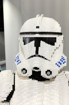 Star Wars soldier made from Lego blocks on exhibition i Rzeszow, Poland