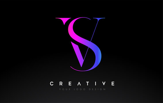 VS SV letter design logo logotype icon concept with serif font and classic elegant style look vector