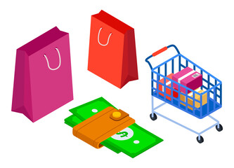 Wall Mural - Isometric image of shopping cart with cardboard packaging goods. Money holder with dollars. Peper colorful packages. The concept of shopping, online store, market place. E-commerce. Flat image