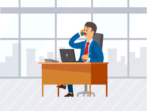 Chief executive talking on mobile phone with partners discussing business issues. Leader of company sitting in office chair working with laptop, boss workplace