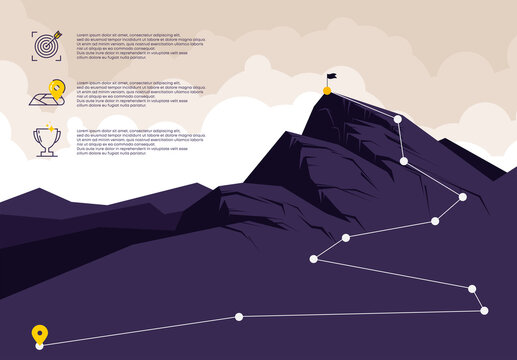 Vector illustration of the mountain landscape, with points for climbing to the top, icons for planning mountain climbing with a description