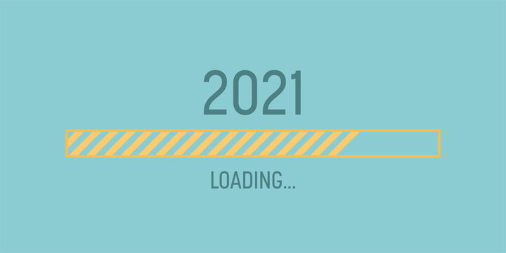 Loading bar for 2021 goal planning business concept, vector illustration for graphic design, flat style