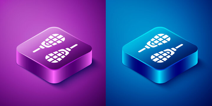 Isometric Snowshoes icon isolated on blue and purple background. Winter sports and outdoor activities equipment. Square button. Vector.