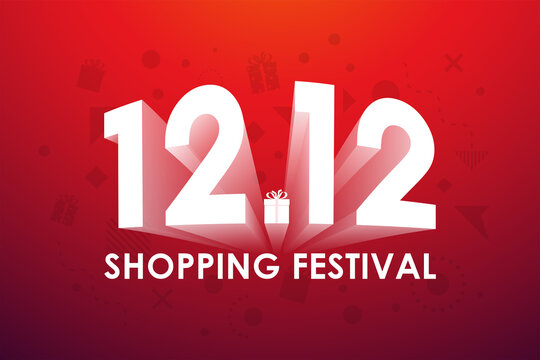 12.12 Shopping festival, Speech marketing banner design on red background. Vector illustration