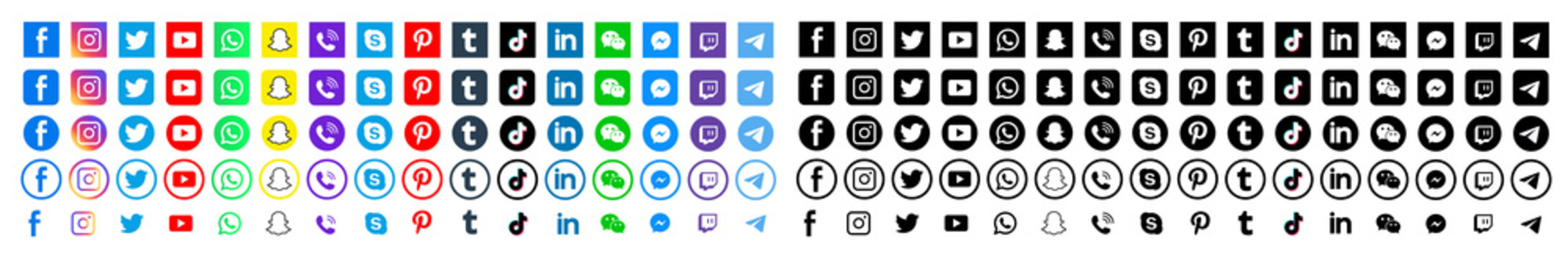 Social media icons illustration. facebook, twitter instagram and telegram, skype, youtube logo. Editorial illustration. Vinnitsa, Ukraine - January 12, 2020
