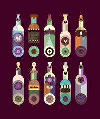 Colored isolated on a dark background decorative wine bottles collection vector illustration. Flat design of various bottles. Each bottle is placed on a separate background.