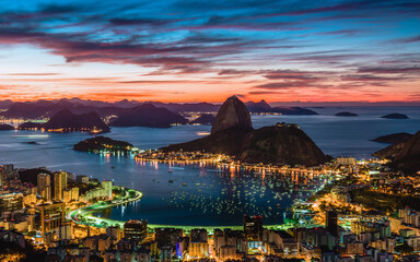 Panoramic view of Rio de Janeiro city at the sunset