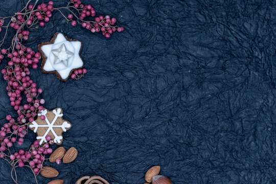 background with red pepper and christmas cookies
