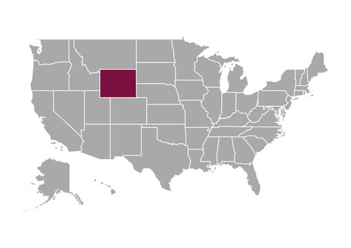 Map of Wyoming state and position in the United States