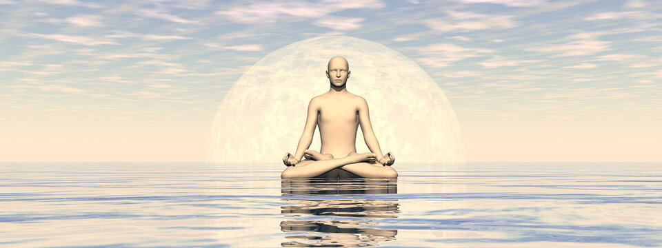 Peaceful man meditating alone by day in front of the full moon - 3D render