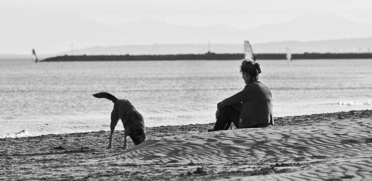 Femme et son chien sur la plage