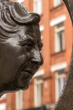 London, UK: Agatha Christie cast in bronze