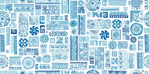 Ethnic blue handmade ornament, seamless pattern