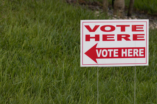 Sign at a Polling Place on Election Day