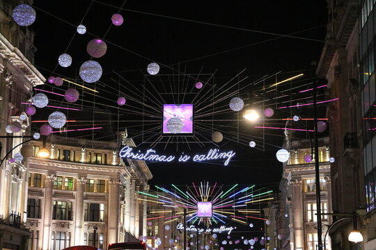Oxford Street at Christmas in London in December, England UK