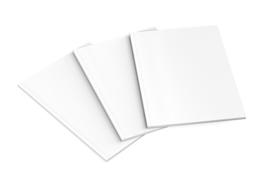 Thick book magazine mockup on white background - three magazines spread out on top of each other - 3d render