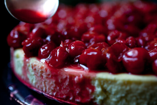 Close up of creme fraiche cheesecake with sour cherries
