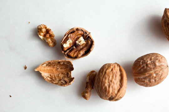 Close up of walnuts on table