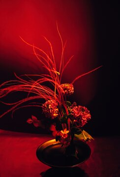 Flower composition in red
