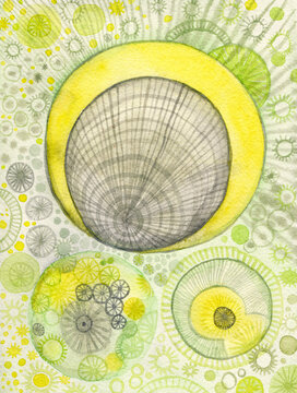 Green and yellow watercolor bacterias