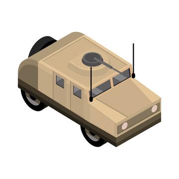 military humvee with machine gun transport isometric icon