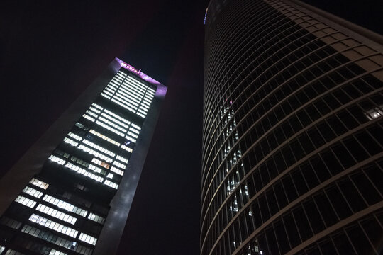 Cityscape of the four towers of Madrid, Spain