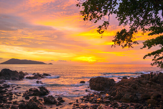 beautiful sunset at Kalim beach.Kalim beach is conect to Patong beach there have a lot of reef .and rocks