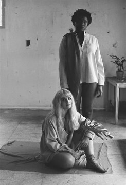 interracial women film black and white portrait.