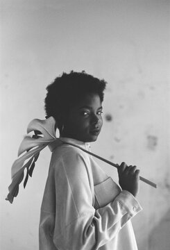 curvy elegant and self-confident afro woman film portrait.