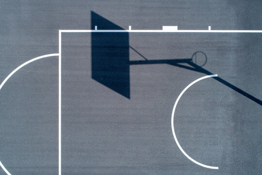 Overhead aerial views of back outdoor basketball courts with no people