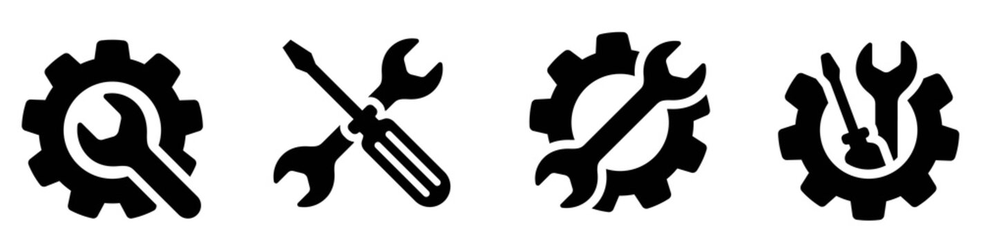 Service icons set. Wrench, screwdriver and gear icon. Screwdriver and wrench glyph icon. Settings and repair, service sign - stock vector.