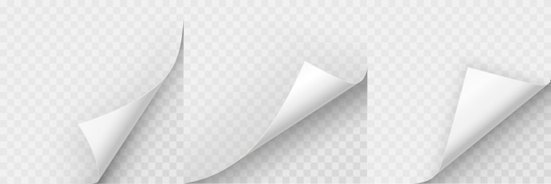 Realistic curled paper corners set. Mockup pages edge curl and bent papers. Curly page corner A4. 3D Page Curl with shadow - stock vector.